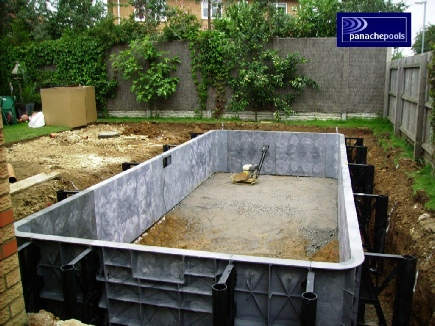 Panel and liner pool under construction